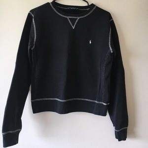 Black Stitched Polo Sweater